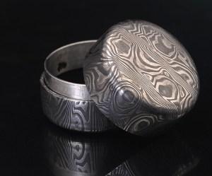 blackened stainless steel box