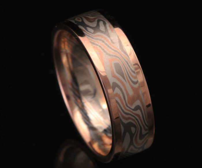 flat red gold mokume ring