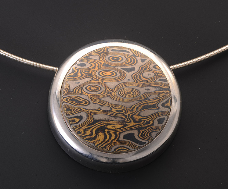 mokume circle pendant