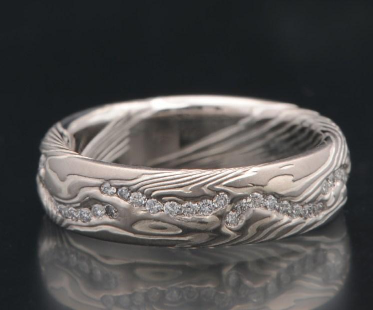 palladium diamond wedding band