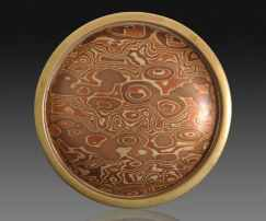 Round mokume belt buckle