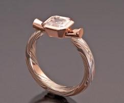 ASSCHER DIAMOND MOKUME ENGAGEMENT RING