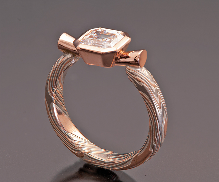 ASSCHER DIAMOND MOKUME ENGAGEMENT RING