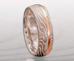 palladium red gold ring