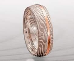 palladium red gold ring