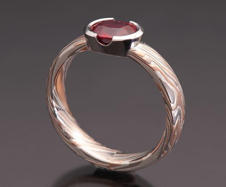 ruby mokume ring