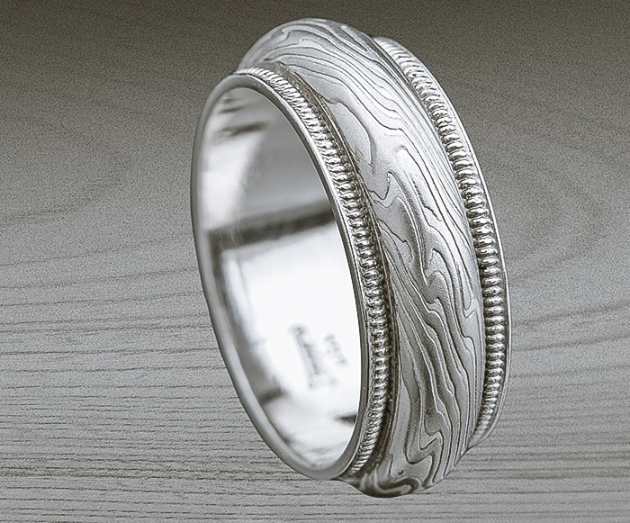 MILGRAIN MOKUME WEDDING RING