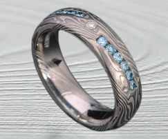 mokume palladium wedding rings