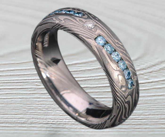 mokume palladium wedding rings