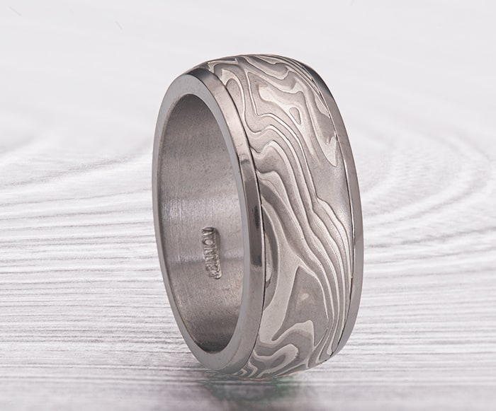Mens mokume and titanium channel ring