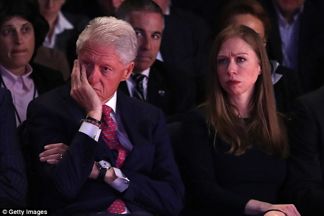 Donald Trump said he held back from bringing up Bill Clinton's (left) 'indiscretions' because Chelsea Clinton (right) was in the audience