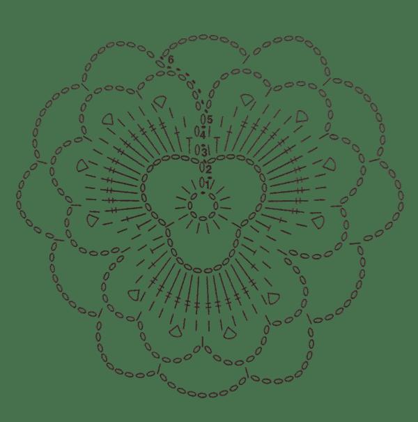 Grafico Flor de espalda top de ganchillo