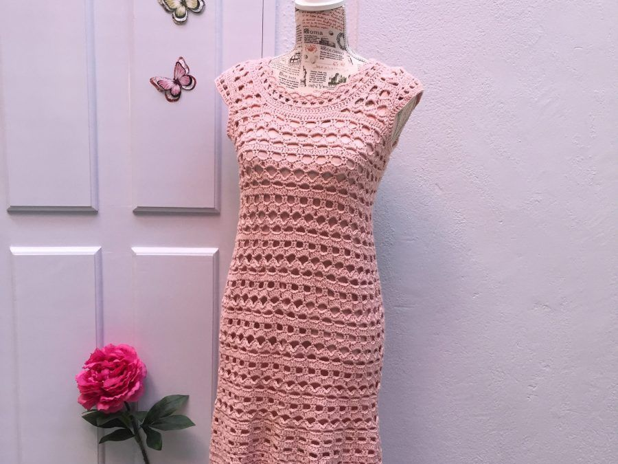 Crochet dress, DIY Romantic in Pink.