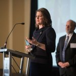 Lawyer of the Year honoree Cynthia Cordes accepts her award.  Cordes was recognized for her work putting away human traffickers and assisting victims.
