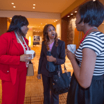 Women's Justice Award honoree Pamela Meanes, on left, chats with Judge Angela Turner Quigless and Serena Wilson-Griffin.  Meanes was recognized in the Litigation category for her work at Thompson Coburn.