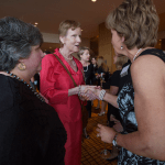 """Women's Justice Award honoree Alice Conway is introduced to Judge Mary Russell by fellow honoree Sherrill Rosen, on left, as """"my friend from preschool."""" Rosen was honored in the Public Official category and Conway for Enterprise."""