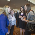 St. Louis University Law School career services employees Joceyln Brennan- Witzel and Mary Pat McInnis hang on every word from their star pupils Mary Hershewe and Erica Blume. Hershewe is one of the 2015 WJA Leaders of Tomorrow honorees, Blume is an alum of the award.