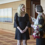 Missouri Lawyers Weekly Publisher Liz Irwin and WJA 2015 Legal Scholar honoree Nancy Allen chat during the 2015 Women's Justice awards reception at the Four Seasons Hotel in downtown St. Louis, MO.