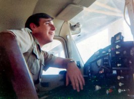 """This 1971 photo provided by David Waldrup shows him in the cockpit of a Cessna 172 at White Rock airport in Dallas. The day of the moon landing on July 20, 1969, David was celebrating not only man's first steps on the moon - he was also celebrating his 15th birthday. """"I was a child of the space race growing up in the 60's and watching everything we did to put men on the moon. I built models of the Mercury, Gemini and Apollo spacecraft and read everything I could find on the vehicles and men flying them. But I was most excited when, on my 15th birthday, my family gathered around our TV to watch the live broadcast in Dallas, Texas as Neil Armstrong walked on the moon. What a birthday gift for and excited space nut! And then my next feeling was, wow, what are we going to do next? It's literally not just the sky, but outer space is the limit. And I can't wait to be part of it. And I knew at some level, I would be part of it somehow."""" Photo courtesy David Waldrup via AP"""