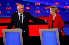 Sen. Bernie Sanders, I-Vt., gestures toward Sen. Elizabeth Warren, D-Mass., during the first of two Democratic presidential primary debates hosted by CNN Tuesday, July 30, 2019, in the Fox Theatre in Detroit. (AP Photo/Paul Sancya)