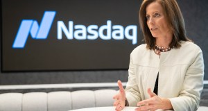 NASDAQ President and Chief Executive Officer Adena Friedman speaks an interview at NASDAQ headquarters in New York. The U.S. stock market has thousands fewer companies to choose from, and that's doing a disservice to regular investors, says Friedman. In a recent conversation with the AP, she discussed what's behind the trend and how it could be exacerbating income inequality. AP Photo by Mary Altaffer
