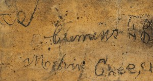 In this Aug. 6, 2019 photo provided by David Leaning Samuel Clemens' signature is seen inside the Mark Twain Cave in Hannibal, Mo., Clemens' boyhood home. Experts say it is almost certainly an authentic signature made by Clemens during his youth in Hannibal. (Photo Courtesy David Leaning via AP)