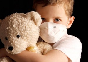 Mold Infected child holding a Bear
