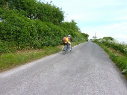 Hard work going uphill on a tandem