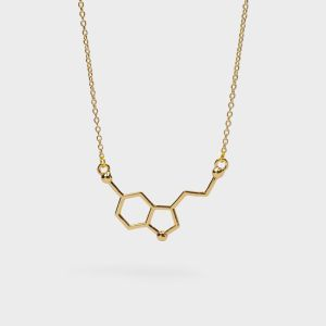 Serotonin Molecule Necklace Flat Gold