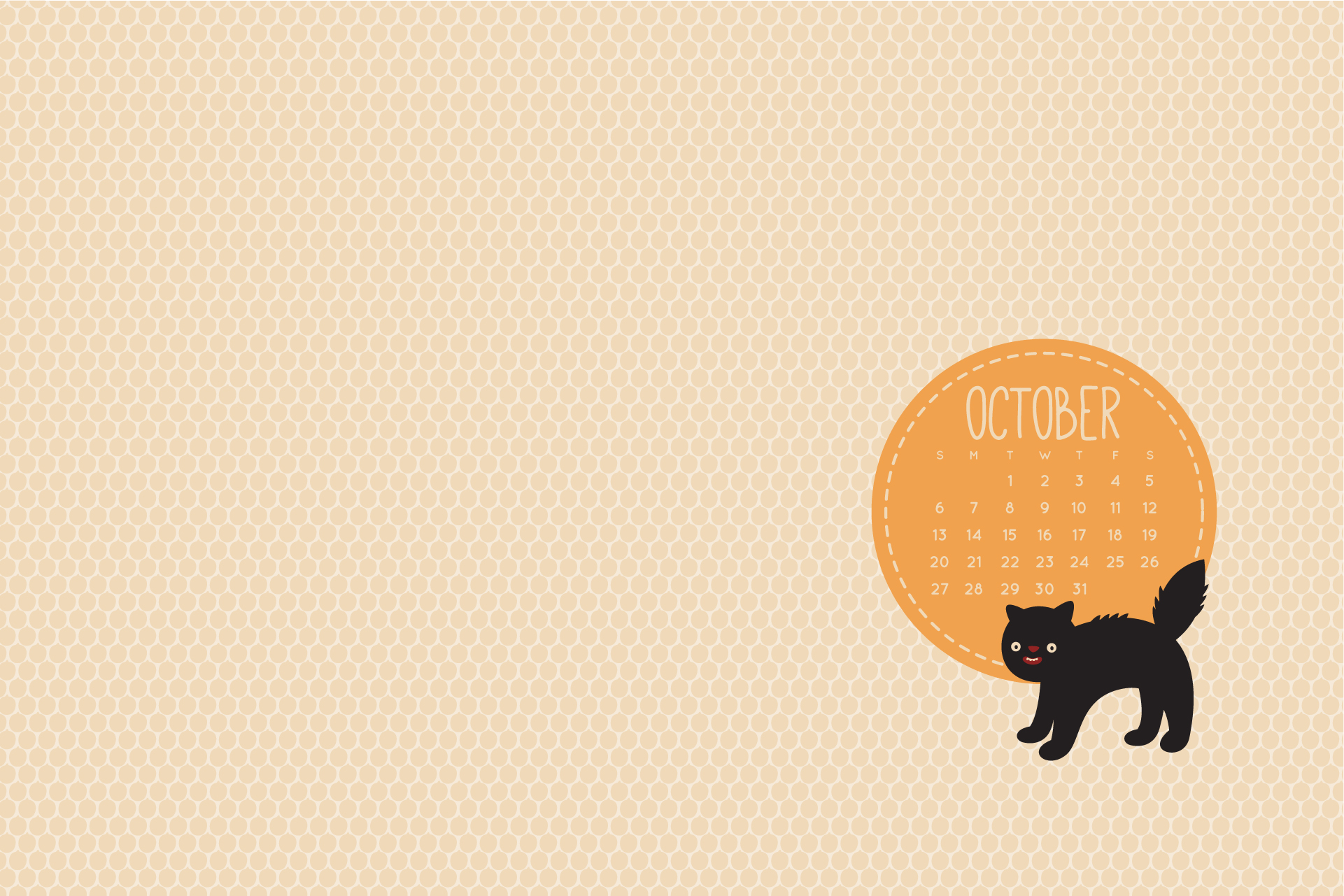Fall Pumpkin Wallpaper Desktop Wild Olive Calendar October S Spooky Cat