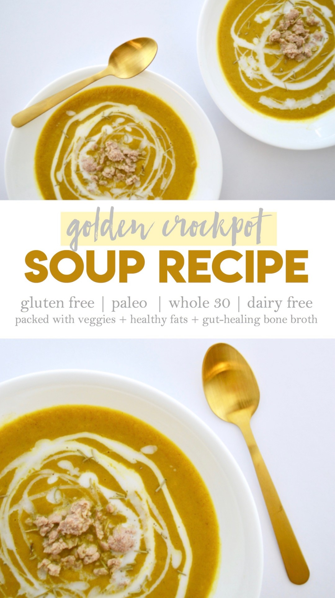 This crockpot soup recipe is easy to make, packed with veggies, and healing for the gut | paleo, whole 30, dairy free, gluten free