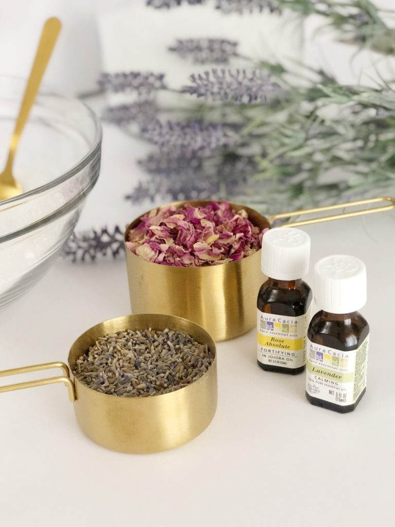 DIY soothing bath salts | epsom salts + essential oils + dried lavender and rose petals | easy self care treat yo self