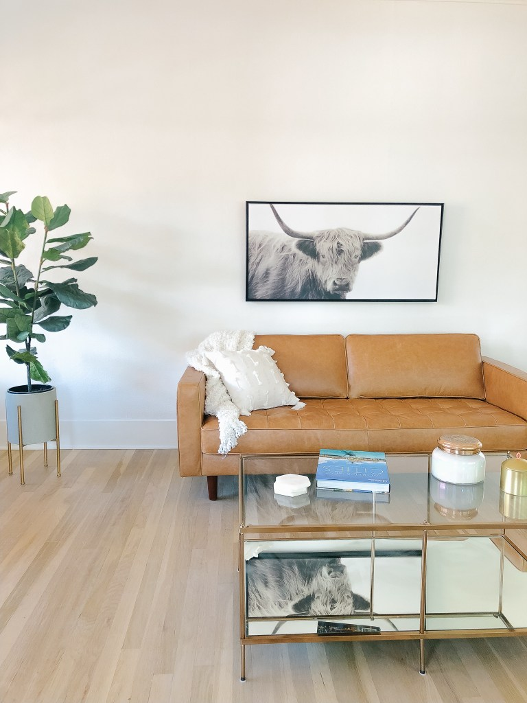 living room brown mid century leather couch brass glass coffee table fiddle leaf fig tree | 102-year-old fixer upper house renovation | mid century modern Scandinavian home design | house flip reno