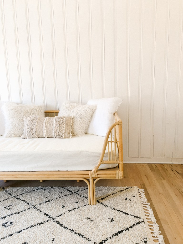 bohemian daybed natural bedroom | 102-year-old fixer upper house renovation | mid century modern Scandinavian home design | house flip reno