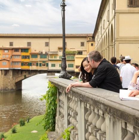 Honeymoon Photo Shoot in Florence Italy near Ponte Vecchio