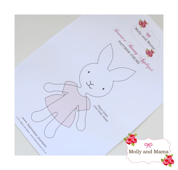 Beatrice Bunny PDF Applique Template by Molly and Mama