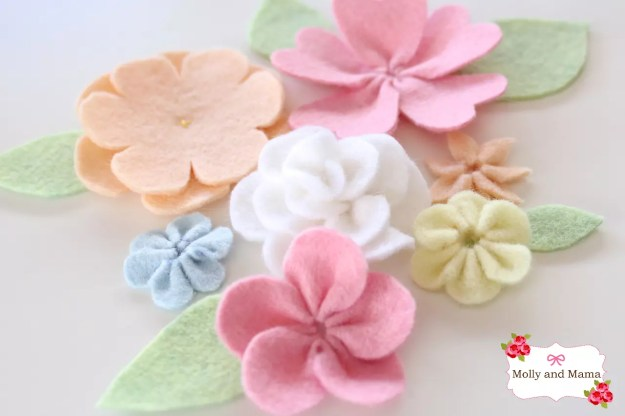 Felt Flower Blooms by Molly and Mama