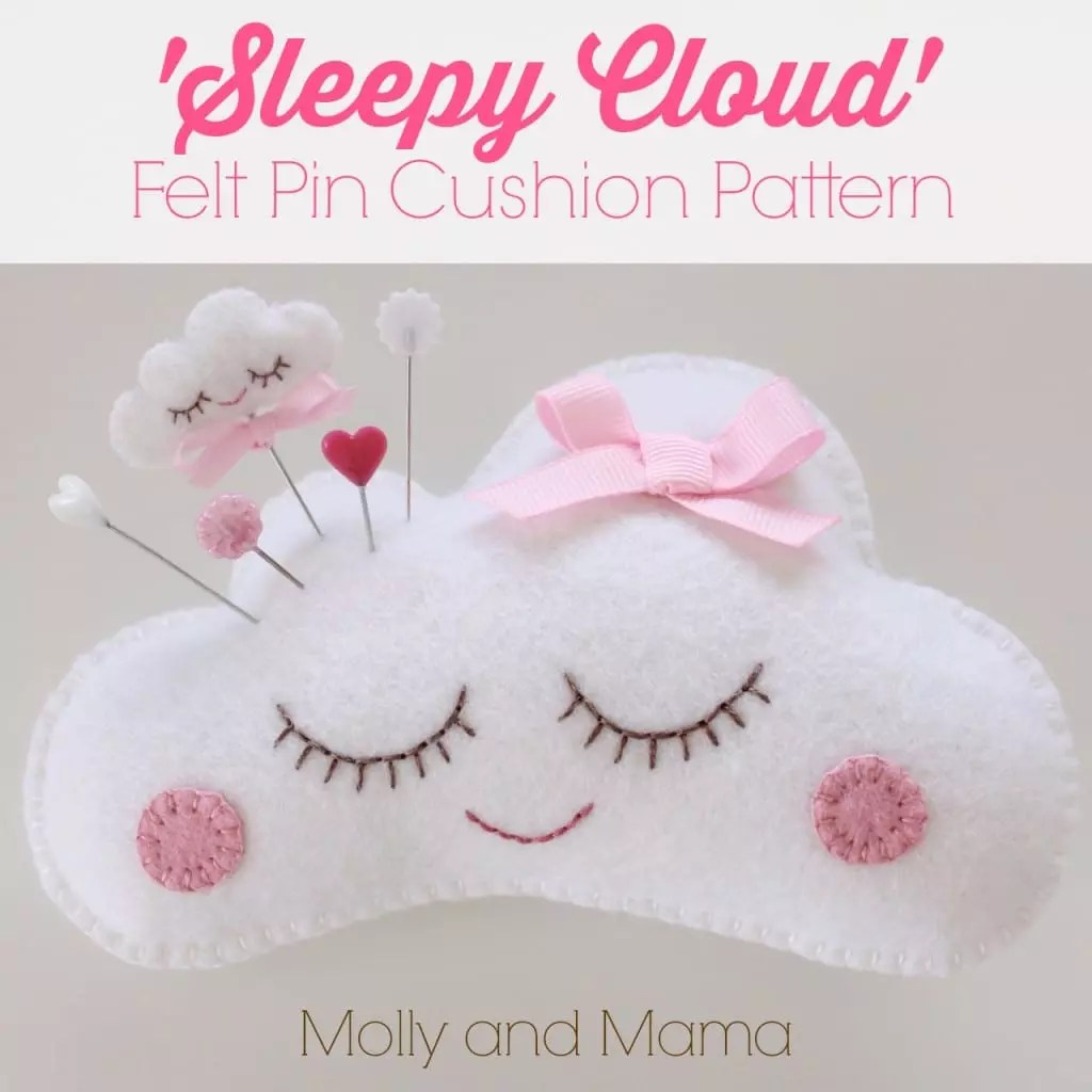 Sleepy Cloud Felt Pin Cushion Pattern by Molly and Mama