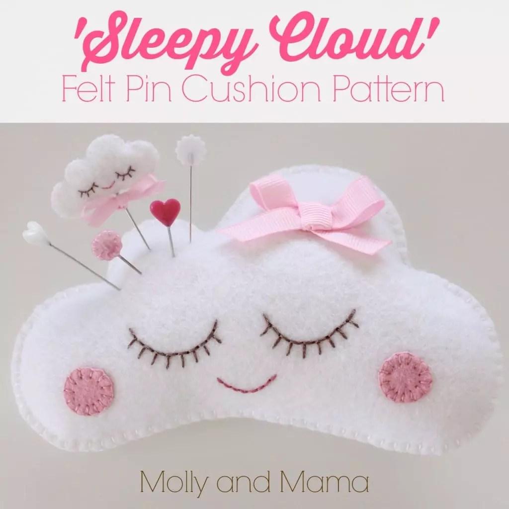 Sleepy Cloud Felt Pin Cushion Pattern by Molly and Mama