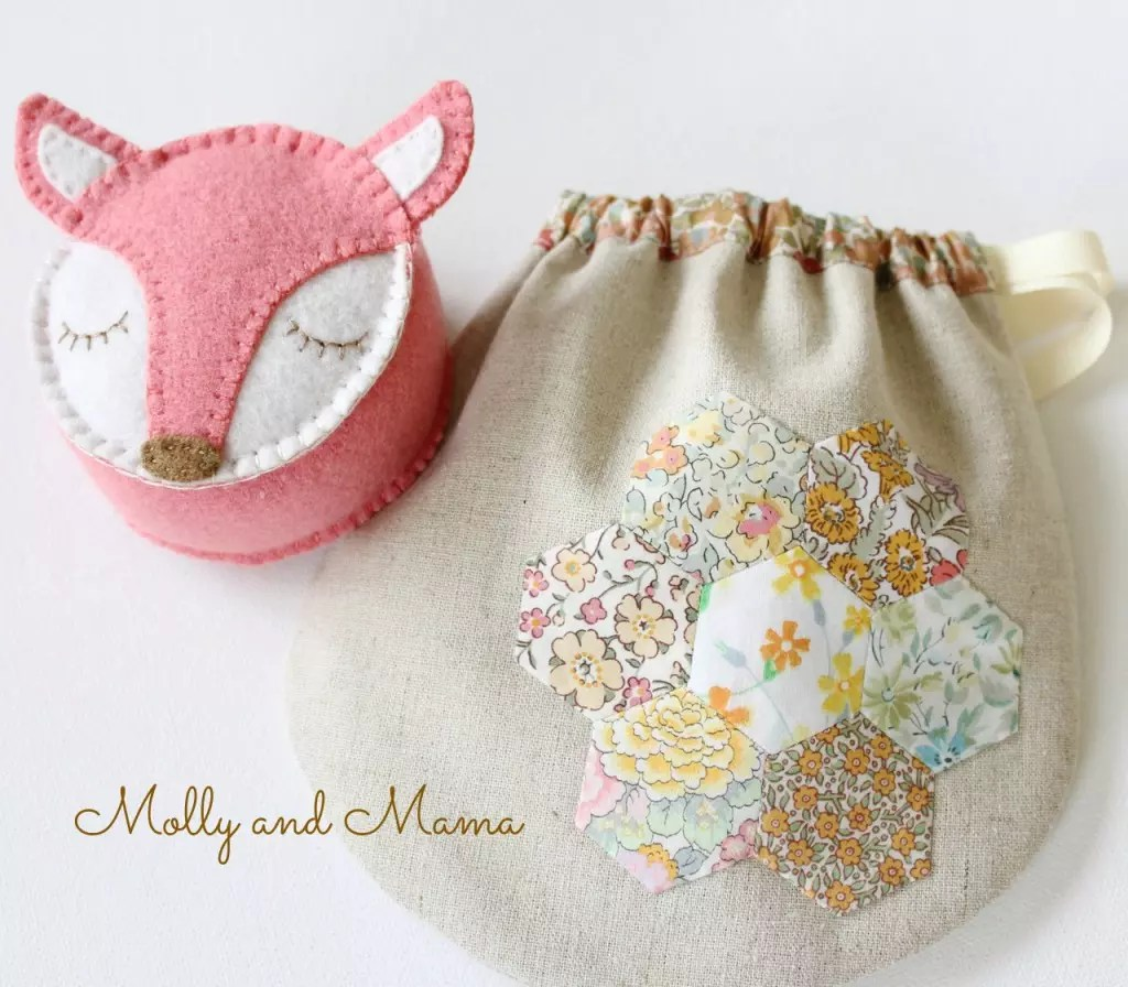 Fifi the Fox pin cushion and a Liberty Pouch - Molly and Mama