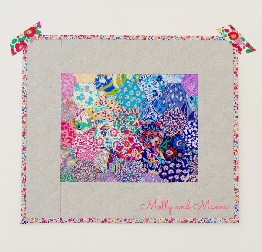 Liberty hexie mini quilt by Molly and Mama