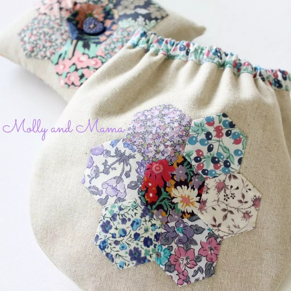 Mauve Hexie Liberty bag and pin cushion - Molly and Mama