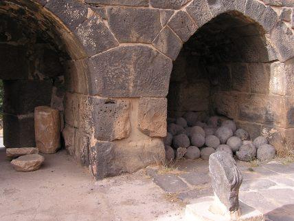 Old trebuchet ammonition behind the amphitheater at Bosra