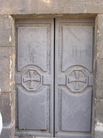 Old doors of the church at Izra