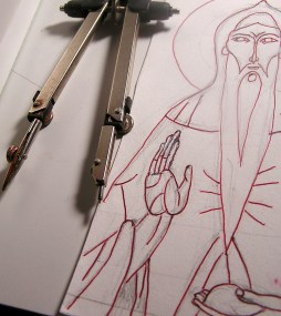 Initial sketch and painting compass