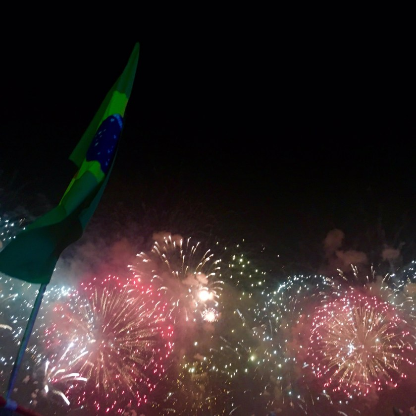 NYE fireworks near Copacabana beach in Rio.