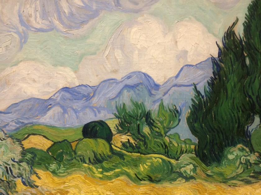 Van Goghs Wheat Field with Cypresses in the national art gallery in london england
