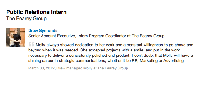 Professional Recommendation – The Fearey Group Molly
