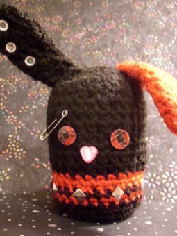 "Early Work: PC also asked me to make him an ""Emo Bunny""; Pattern based off of Gnat on the Windshield's ""Ninja Minion"""