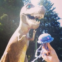 Amazed by dinosaur sculptures